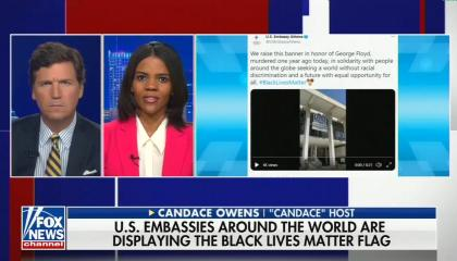 """Tucker Carlson on left, Candace Owens on right, chyron reads """"US embassies around the world are displaying the Black lives matter flag"""""""