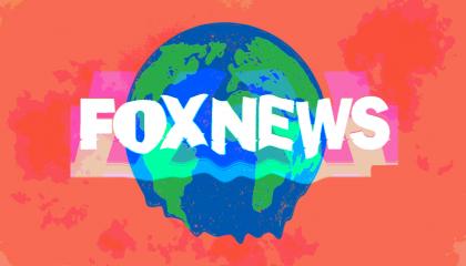 "Cartoon Earth melting behind words ""FOX NEWS"""