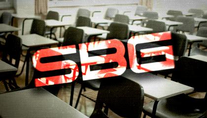 Sinclair Broadcast Group's logo over a classroom