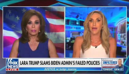 """Fox News contributor Lara Trump (Screen right) appearing on Fox with host Jeanine Pirro (screen left, with her American flag background.) Chyron reads """"Lara Trump slams Biden admin's failed policies"""""""