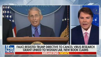 """chyron reads, """"FAUCI RESISTED TRUMP DIRECTIVE TO CANCEL VIRUS RESEARCH GRANT LINKED TO WUHAN LAB, NEW BOOK CLAIMS"""""""