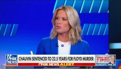 """chyron reads, """"CHAUVIN SENTENCED TO 22.5 YEARS FOR FLOYD MURDER"""""""