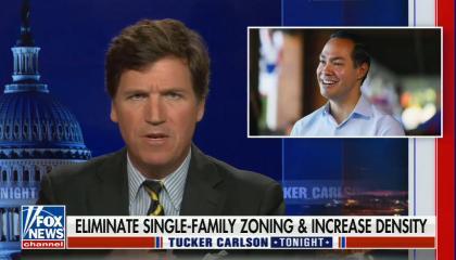 "chyron reads: Eliminate single-family zoning & increase density"""