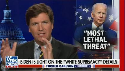 """Tucker Carlson says labeling white supremacists a threat is a """"racial attack"""" on all white people"""