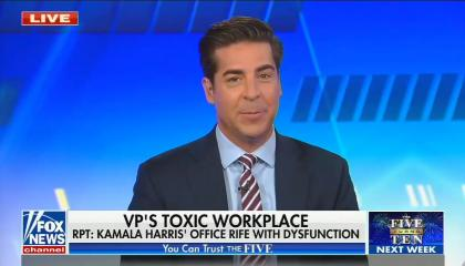 "chyron reads, ""VP'S TOXIC WORKPLACE: RPT -- KAMALA HARRIS' OFFICE RIFE WITH DYSFUNCTION"""