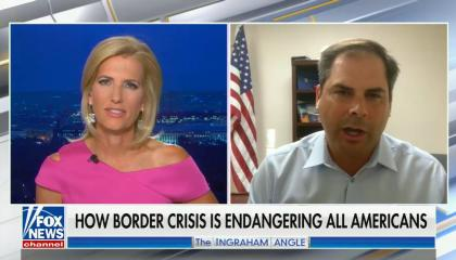 """Laura Ingraham on left, Rep Mike Garcia on right, chyron reads """"How border crisis is endangering all Americans"""""""