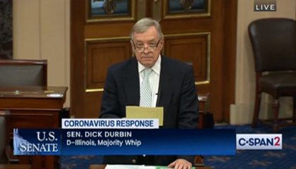 Watch Sen. Dick Durbin call out Fox News and hosts Tucker Carlson and Laura Ingraham for spreading vaccine conspiracy theories