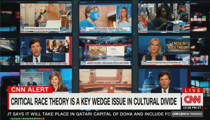 """chyron reads, """"CRITICAL RACE THEORY IS A KEY WEDGE ISSUE IN CULTURAL DIVIDE"""""""