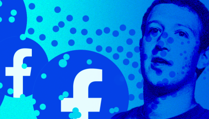Image of Mark Zuckerberg next to Facebook logos