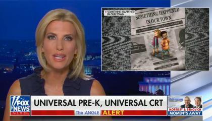 chyron reads: Universal pre-k, universal CRT
