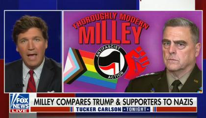 chyron reads: Milley compares Trump & supporters to Nazis
