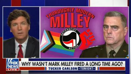 Tucker Carlson addresses camera; photo on right of Gen, Milley next to LGBT+ pride flag