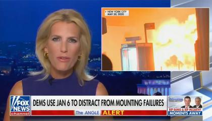 """chyron reads, """"DEMS USE JAN 6 TO DISTRACT FROM MOUNTING FAILURES"""""""