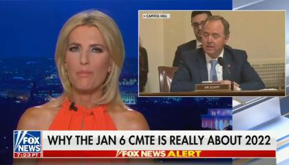 """chyron reads: """"WHY THE JAN 6 CMTE IS REALLY ABOUT 2022"""""""