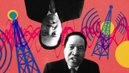 Images of Larry Elder next to radio towers emitting a signal