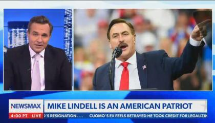 """Newsmax host praises Mike Lindell as a """"patriot"""""""