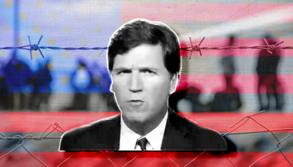 Tucker Carlson in front of a barbed wire fence and the American flag
