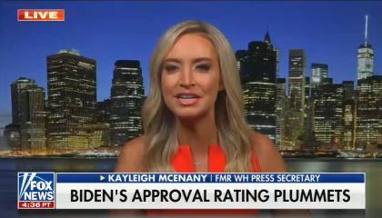 still of Kayleigh McEnany; chyron: Biden's approval rating plummets