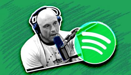 Joe Rogan next to the Spotify logo