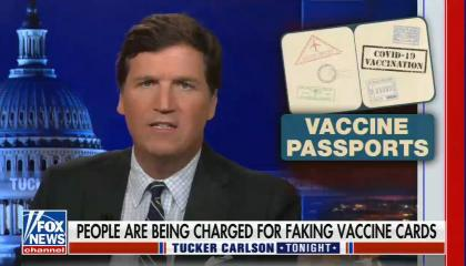 chyron reads: people are being charged for faking vaccine cards