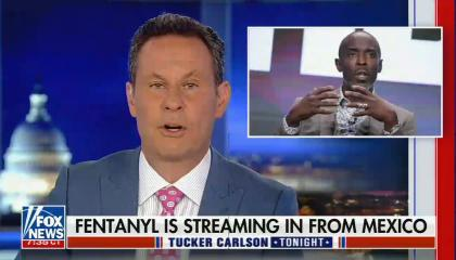 still of Brian Kilmeade; photo of Michael K. Williams; chyron: Fentanyl is streaming in from Mexico