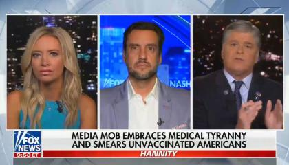 chyron reads: Media mob embraces medical tyranny and smears unvaccinated Americans