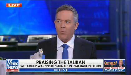 """chyron reads: Praising the Taliban WH: group was """"professional"""" in evacuation effort"""