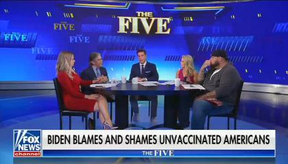 chyron reads: Biden blames and shames unvaccinated Americans