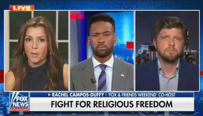 still of Rachel Campos-Duffy, Lawrence Jones, Buck Sexton; chyron: Fight for religious freedom