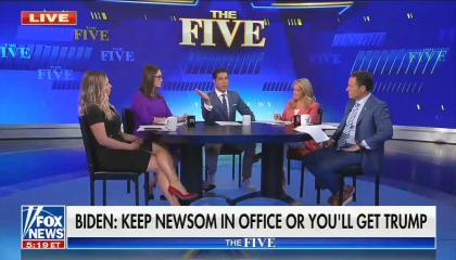 chyron reads: Biden: Keep Newsom in office or you'll get Trump