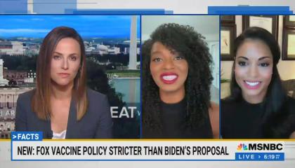chyron reads: New: Fox vaccine policy stricter than Biden's proposal