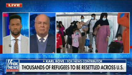 still of Lawrence Jones, Karl Rove; photo of Afghan refugees; chyron: Thousands of refugees to be resettled across U.S.