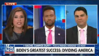 still of Rachel Campos-Duffy, Lawrence Jones, Jason Rantz; chyron: Biden's greatest success: Dividing America