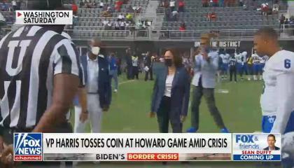 VP Kamala Harris at a football game
