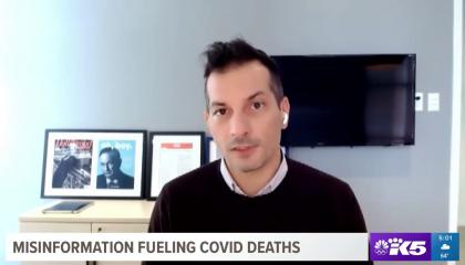 still of Angelo Carusone; chyron: Misinformation fueling COVID deaths