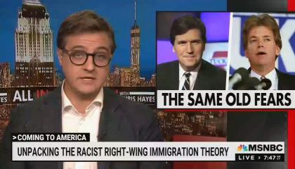 """Chris Hayes addresses camera; in corner is a picture of Tucker Carlson next to David Duk with words """"THE SAME OLD FEARS"""" underneath; chyron reads """"Unpacking the racist right-wing immigration theory"""""""