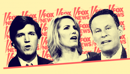 Fox hosts Tucker Carlson, Laura Ingraham, and Brian Kilmeade