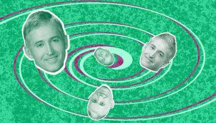 Several headshots of former Rep. and Fox contributor Trey Gowdy and several of his unique haircuts, swirling around a light green spiral on a darker green background