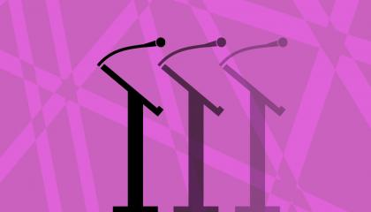 image of three microphones on stands