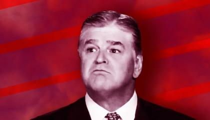 Fox News host Sean Hannity makes a frowning face. His image, turned black and white, is superimposed over a crimson textured background.