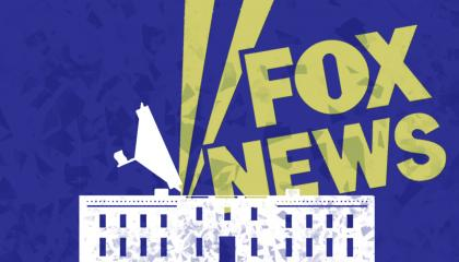 A yellow Fox News logo projecting upwards out of the opened roof of the White House against a blue background.