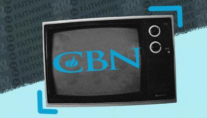 Image of a television with CBN logo inside and in the background there are logos for The 700 Club and Faithwire