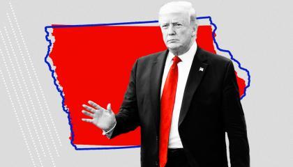 An image of Trump and Iowa