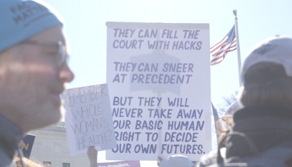 Image of pro-choice sign at Supreme Court rally