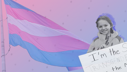 Rebekah Bruesehoff in front of a trans pride flag
