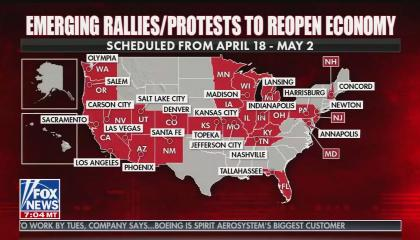 Fox & Friends advertises protests against social distancing 4/18/20