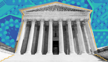 Image of the Supreme Court with images of birth control in the background