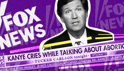Tucker Carlson with headline about Kanye West and abortion