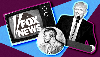 A stylized image featuring in black-and-white: A CRT TV with the Fox News logo on it, a Nobel Prize, and President Donald Trump. All three are layered on top of a light blue triangle, on top of a purple background.
