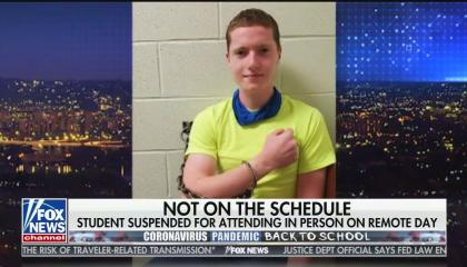 """An image of a high school student showing his hand cuffed to a wall, with chyron reading """"Not on the schedule: Student suspended for attending in person on remote day"""""""